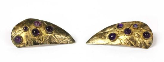 A pair of sterling silver gilt amethyst earrings, by Eileen Coyne,