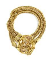 A Dutch three row gold bracelet,