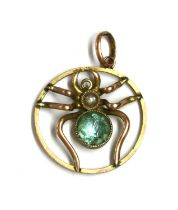 An Edwardian gold paste and split pearl spider pendant,