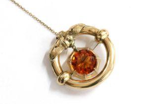 A Victorian gold citrine brooch,