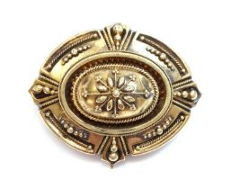 A Victorian archaeological revival Etruscan style shield form brooch, c.1870,
