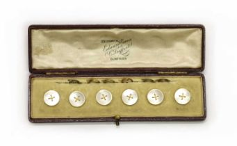A cased set of six gold mother-of-pearl buttons,
