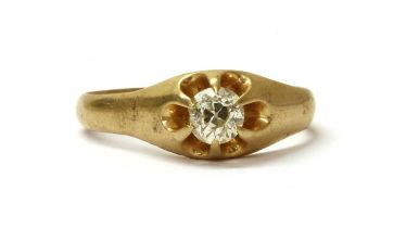 A gold single stone diamond ring,