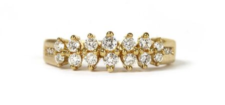 An 18ct gold two row diamond ring,