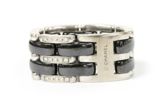 An 18ct white gold and black ceramic Chanel 'J12 Ultra' ring,