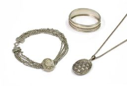 A small quantity of Victorian silver jewellery,