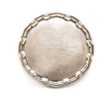 A silver salver, by C J Vander Ltd,