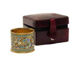 A champleve napkin ring,