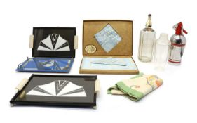 A Cromlech Sylcon Damask boxed table cloth and napkins,