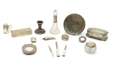 A collection of silver and silver plated items,
