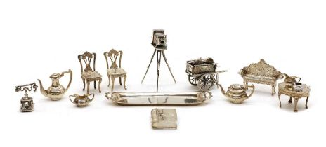 Collection of silver miniatures,