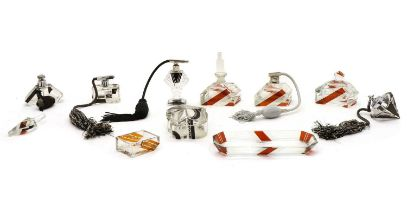 Five Art Deco glass atomisers,