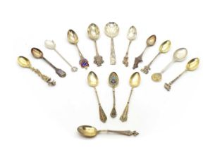 A collection of silver souvenir spoons,