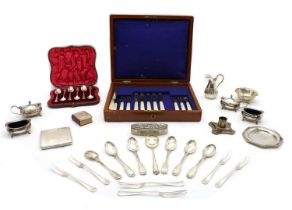 A collection of various silver pieces