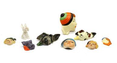 Three Scottie dog wall masks,