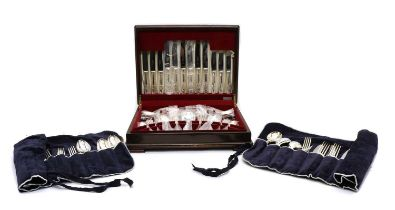A cased canteen of silver plated Kings Pattern cutlery,