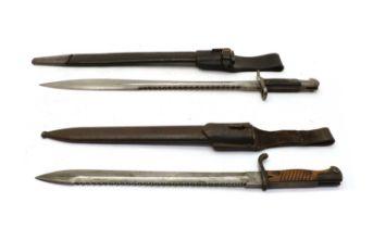 Two WWl saw back bayonets