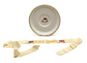R M S Cedric, a White Star Line plate and Sailor's Cap Tally for R M S Cedric,