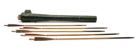 Archery; a tin plate quiver of target arrows by Buchanan of Piccadilly,