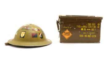 WWII British Officer's helmet and ammunition case