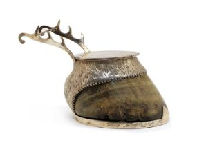 A Victorian silver mounted horse's hoof trophy desk stand,