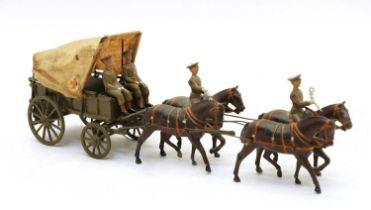 A Britains four horse ambulance wagon,