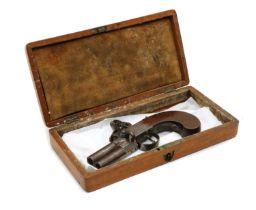 A flintlock db over and under tap action pocket pistol,