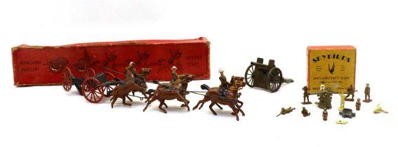 A Crescent Toys Royal Horse Artillery six horse gun team,