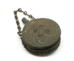 An Ottoman copper and brass gunpowder flask