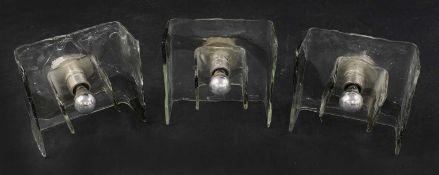 Three Murano glass wall lights,