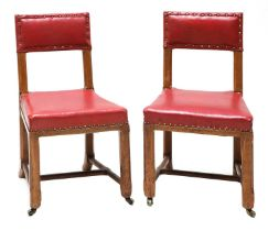 A pair of Reformed Gothic oak side chairs,