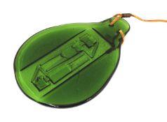 A green glass sun-catcher,
