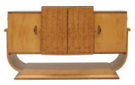 An Art Deco burr maple sideboard,