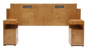 An Art Deco maple bed frame,