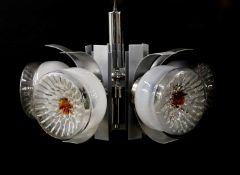 An aluminium and chrome five-light hanging chandelier,
