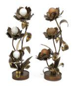 A pair of cut metal table lamps,