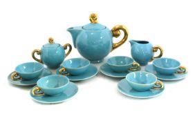 A Belgian blue-glazed tea service,