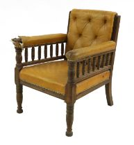 An Aesthetic Movement library chair,
