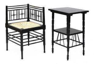 An ebonised Liberty & Co. 'Argyll' corner chair,