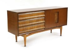 A teak and brass-mounted sideboard,