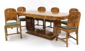 An Art Deco burr walnut dining suite,
