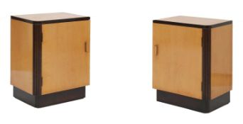 A pair of Art Deco maple bedside cupboards,