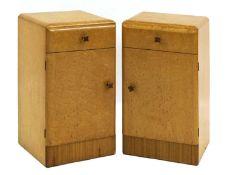 A pair of Art Deco bird's-eye maple bedside tables,