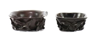 Two Chinese zitan libation cups,