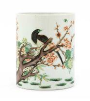 A Chinese wucai brush pot,