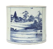 A Chinese blue and white brush pot,