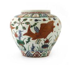 A Chinese wucai jar,