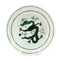 A Chinese green-enamelled plate,