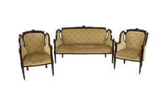 An Edwardian mahogany salon suite,