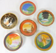 A collection of six boxed Royal Worcester fine bone china miniature dishes, 'The Art Deco